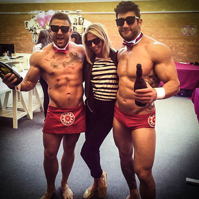 image Male stripper at bachelorette party gives fac